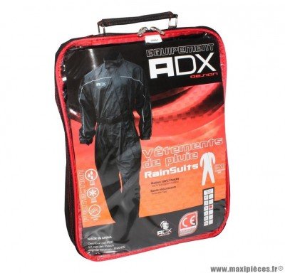 Combinaison de pluie marque ADX Noir taille M (Ceinture d'ajustement + soufflet avec zip et pressions au pied + sac de transport)