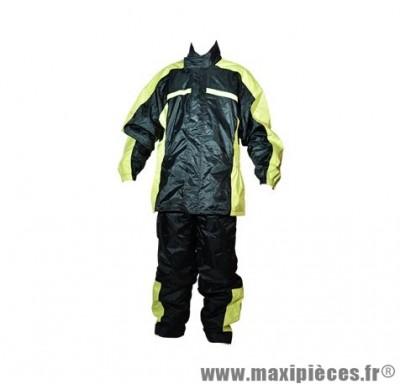 Veste + Pantalon pluie marque Steev Noir/Jaune Fluo Storm (Ensemble 2 pièces) taille XL