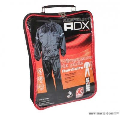 Vêtement de pluie marque ADX Eco Noir taille XXL (Pack Veste + Pantalon)