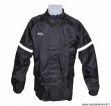 Veste de pluie marque ADX Eco Noir taille S (Doublure + bande réfléchissante + col velours + gouttière + soufflet dorsale pour éviter le flottement en roulant...)