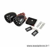Alarme universel audio systeme mp3 / fm (2 telecommandes + 2 enceintes) pour scooter, moto, 50 a boite, cylomoteur, quad...
