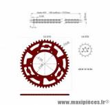 KIT CHAINE DOPPLER ALU POUR: SENDA /DRD/RACING/EVO/GPR NUDE/RACING/RS4 (14X53)  DIAMETRE:108 COULEUR ROUGE