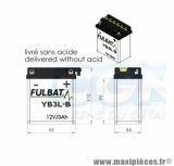 BATTERIE MOTO / SCOOT / QUAD YB3L-B FULBAT 12V3AH LG 95 L54 H110 ACIDE INCLUS