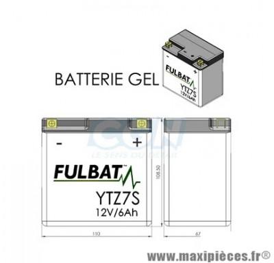 BATTERIE MOTO / SCOOT / QUAD YTZ7S FULBAT 12V6AH GEL SANS ENTRETIEN LG113 L70 H105