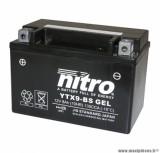 BATTERIE MOTO / SCOOT / QUAD 12V 8 Ah YTX9-BS NITRO SANS ENTRETIEN VENDU AVEC PACK ACIDE (Lg150xL87xH105)