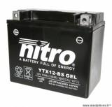 BATTERIE MOTO / SCOOT / QUAD 12V 12Ah YTX12-BS GEL NITRO SANS ENTRETIEN GEL PRET A L'EMPLOI (Lg150xL86xH130)