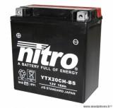 BATTERIE MOTO / SCOOT / QUAD 12V 18Ah YTX20CH-BS NITRO SANS ENTRETIEN AVEC PACK ACIDE