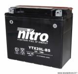 BATTERIE MOTO / SCOOT / QUAD 12V 18Ah YTX20L-BS NITRO SANS ENTRETIEN VENDU AVEC PACK ACIDE (Lg175xL87xH155)