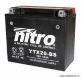 BATTERIE MOTO / SCOOT / QUAD 12V 18Ah YTX20-BS NITRO SANS ENTRETIEN VENDU AVEC PACK ACIDE (Lg175xL87xH155)
