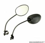 Paire de rétroviseurs noir avec collier (forme zip) pour cyclomoteur (homologué CE)