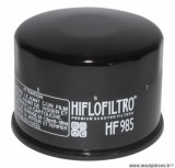 Filtre à huile Hiflofiltro HF985 (68x50mm) pièce pour Maxi-Scooter : YAMAHA 500 TMAX 2001>2011, 530 TMAX 2012>-KYMCO 500 XCITING