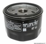 Filtre à huile Hiflofiltro HF565 (76x58mm) pièce pour Maxi-Scooter : GILERA 800 GP 2008>-APRILIA 850 SRV 2012>, 750 DORSODURO, 1200 DORSODURO, 850 MANA, 750 SHIVER