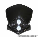 Tête de fourche Tun'r racing noir (double optique halogene 2x20w) pour moto, 50 a boite, cyclomoteur