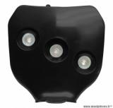 Plaque numéro Replay avec halogene 3x20w noir pour moto, 50 a boite, cyclomoteur