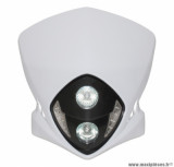 Tête de fourche duke blanc a leds blanches + halogène 2x20w pour 50 a boite