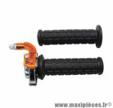 Poignée de gaz targa chrome / noir pour cyclo