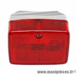 Feu arrière cyclo rc rouge / chrome pour peugeot 103 / mbk 51