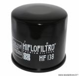 Filtre à huile Hiflofiltro HF138 (68x65mm) pièce pour Moto : SUZUKI 650 BANDIT, 750 GSX-R, 1000 GSX-R, 1300 HAYABUSA, 1500 INTRUDER-APRILIA 1000 RSV4 2009>