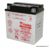 Batterie 12v 11 ah yb10l-a2 yuasa avec entretien (lg135x90x145) pièce pour Scooter, Mécaboite, Maxi Scooter, Moto, Quad