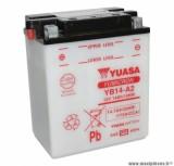Batterie 12v 14ah yb14-a2 yuasa avec entretien (lg134x89x166) pièce pour Scooter, Mécaboite, Maxi Scooter, Moto, Quad