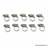 Collier de serrage metal ajoure 7x11 (sachet de 10) largeur 5mm pièce pour Scooter, Mécaboite, Mobylette, Maxi Scooter, Moto, Quad
