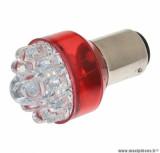 Ampoule / lampe 12v à leds 21 / 5w culot BAY15D rouge (feu + stop)