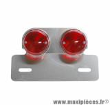 Feu arrière universel Replay sur platine rond rouge / argent