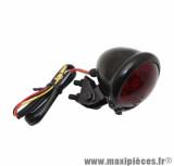 Feu arrière universel Replay à leds rond acier rouge / noir avec stop + feu de position (8 leds rouges) homologué CE
