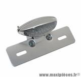 Feu arrière universel sur platine à leds ovale transparent / chrome avec feu stop + position + éclairage plaque homologué CE