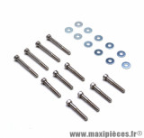 Kit 11 vis de carter acier chrome 6x40 / 55 pour scooter peugeot tkr, trekker, speedfight, squab