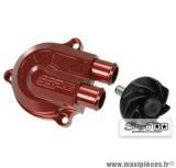 Couvercle de pompe à eau Stage 6 «Racing» + volute haute pression (+40%), couleur rouge anodisé pour MBK Nitro/Aerox