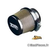 filtre a air adaptable diametre28/35 conique grille droit chrome/noir