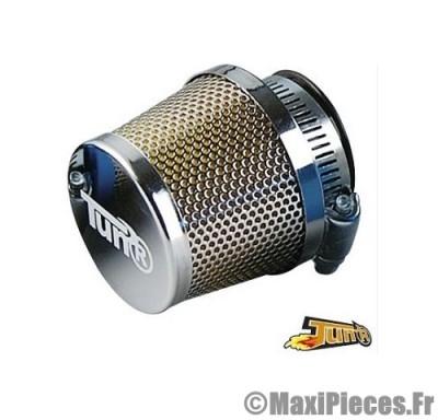 filtre a air adaptable diametre28/35 conique grille droit chrome/chrome