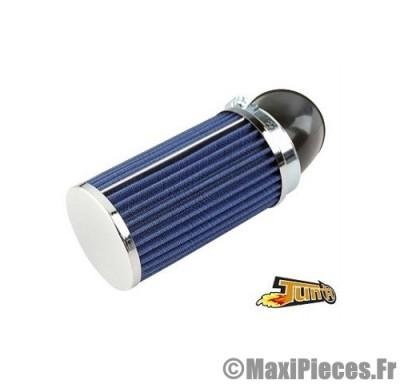filtre a air adaptable diametre28/35 long bleu coude 45