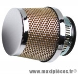 filtre a air adaptable diametre28/35 conique grille droit chrome/chrome