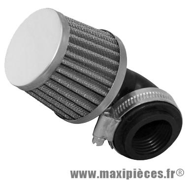 Filtre a air adaptable phbg conique kn coude 90 chrome