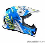 Casque moto cross Trendy 18 T-902 Dreamstar taille L (T59-60) couleur blanc/bleu/jaune verni