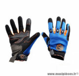 Gants moto été Steev MX V2 2018 taille S (T8) couleur bleu/noir/orange