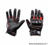 Gants moto été Steev Superbike 2018 taille XS (T7) couleur noir/rouge