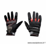 Gants moto été Steev Chicago V2 2018 taille M (T9) couleur noir/rouge