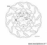 Disque frein arrière Polini Wave pour moto derbi senda drd, rcr après 2011, rx, sx / 125cc senda (diamètre 218)