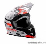 Casque moto cross Trendy 19 T-902 Mach1 taille XXL (T63-64) couleur blanc/rouge