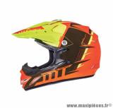 Casque enfant moto cross MT MX2 Spec taille YL (T53-54) couleur orange/jaune fluo