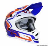 Casque enfant moto cross ProGrip 3009 taille YL (T53-54) couleur bleu/orange