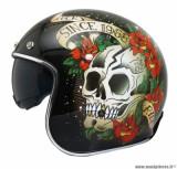 Casque jet/bol MT Le Mans 2 SV Skull & Roses taille XXL (T63-64) couleur noir