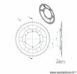 Couronne 54 dents (diamètre 94) 10 trous pour cyclomoteur mbk 40, 50