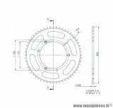 Couronne (56 dents pas 428) diamètre 110 / 3x2 fixations pour moto sherco enduro, sm après 2003