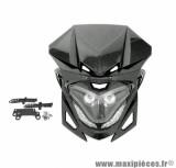Tête de fourche bi halogène + leds winterbee type r8 imitation carbone pour enduro