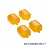 4 cabochons clignotants avant + arrière orange pour scooter peugeot trekker, squab, fox / moto 50 peugeot xp6 / derbi senda l / yamaha tzr après 2004