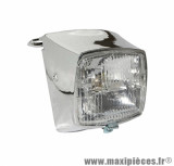 Phare complet 12 volt chrome pour cyclomoteur peugeot 103 mvl, vogue, chrono